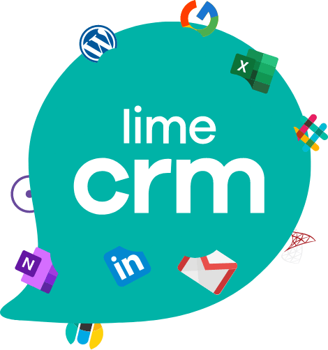 Logotype of Lime CRM with a mixture of other logos in it